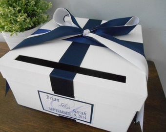 Modern Wedding Card Box Classic Navy and White Wedding Custom made to order