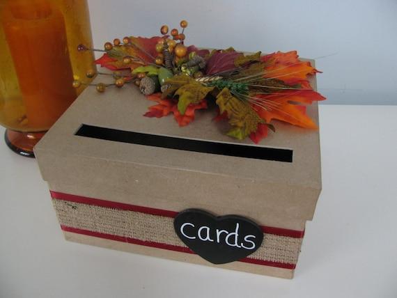 Fall Wedding Gift Card Box : ... Card Box, Wedding Gift Card Box, Fall Wedding Leaves Burlap Wedding