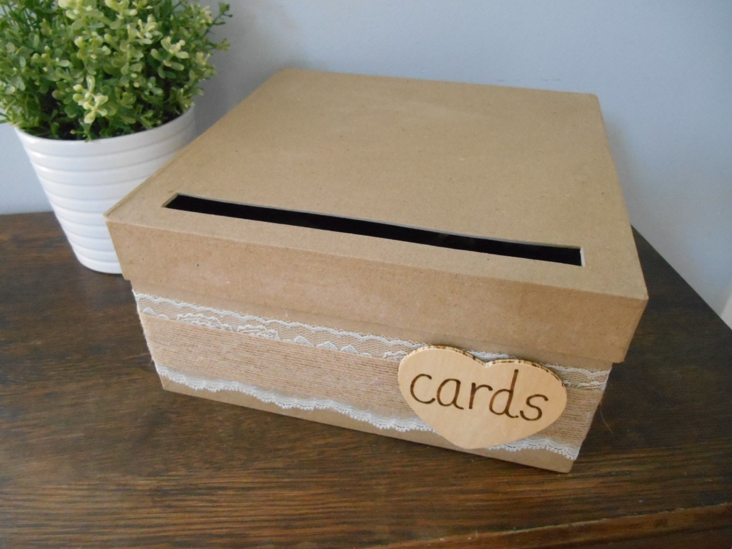 Rustic Wedding Card Box with Lace and Burlap Wedding Reception