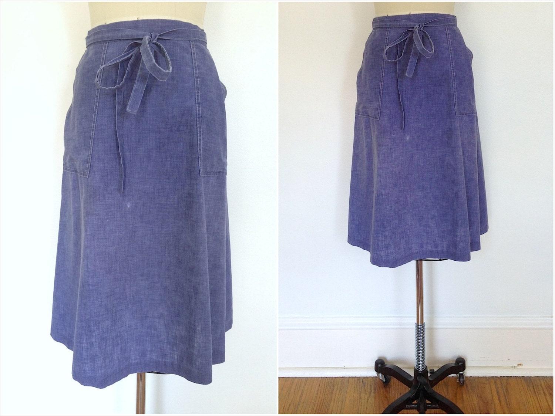 vintage wrap skirt chambray denim knee length 1970s 70s