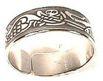 Irish Celtic Ring-Interlock Heron Birds,Book of Kells