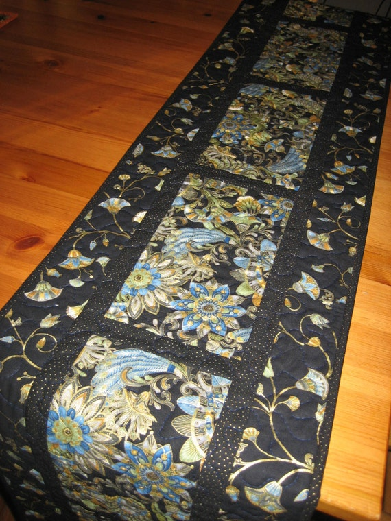 Quilted Table Runner Blue Green And Gold Asian Inspired