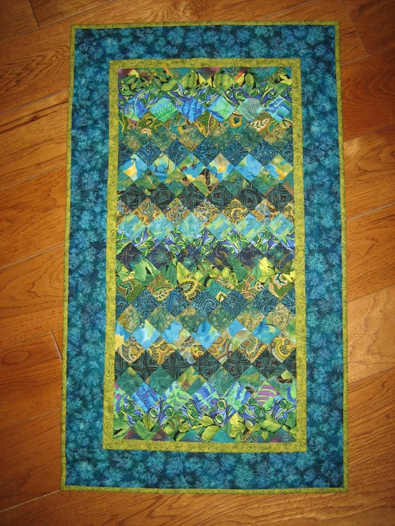 Paisley Art Quilt Green And Turquoise Wall Hanging