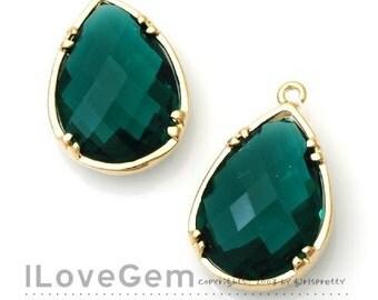 B057 Gold plated, Emerald Green, Glass drop, 2pcs