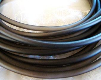 Rubber Cord tube 5mm, hole 3,2mm, PVC, Dark Grey - 0,92 m/1 yard/ 3 feet (1 piece)