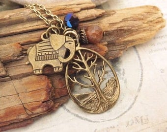 Elephant and Tree necklace with agate stone and crystal