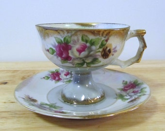 VINTAGE - Porcelain Tea Cup and Saucer - Pink, White & Yellow Roses