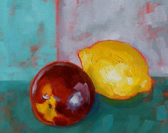 Still Life with Nectarine and Lemon original 8x10 oil on canvas painting