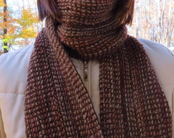 BROWN/PINK Knit Scarf #202 - Extra Long Hand Knit Scarf