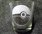 Pokemon Pokeball XL etched shot glass