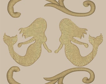 Two Mermaids Embroidery Design