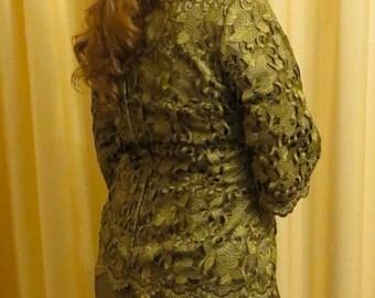 Vintage Formal Olive Floral Lace Blouse Top