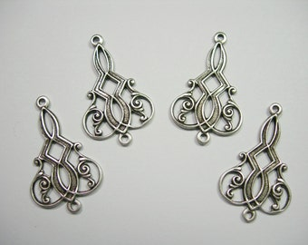 Antiqued Silver plated Victorian Drops Dangles Earring Findings - 4