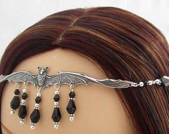 Jezebel CUSTOM color Gothic Vampire BaT CIRCLET head piece Item 3254 Goth tiara diadem crown