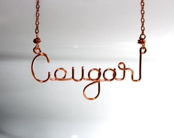 Cougar Jewelry * Older Woman * Younger Man * Wire Word Art * Wire Words * Metalwork Jewelry * Metalwork * Cougar * Cougar Necklace