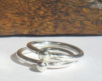 Two Stacking Silver Ball Rings