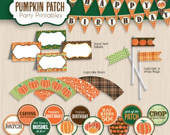 PUMPKIN BIRTHDAY Party Printable Package- Instant Download