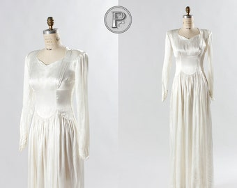 40s wedding dress medium / 1940s ivory wedding dress : Aurora