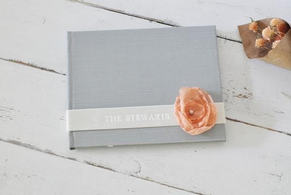 Custom Wedding Album - Velvet Sash & Handmade Silk Flower Custom Book design by Claire Magnolia