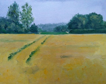 Fields of Gold Norfolk landscape oil painting 24 x 30 cm, 9.45 x 11.81 inches