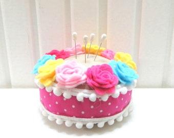 Pink, Yellow, Blue Roses Felt Pincushion, Pink-White Polka Dot, Gift For Christmas