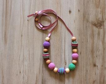 Purple Green Burgundy Nursing Necklace / Teething Necklace for Breastfeeding Mon