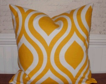 SALE ~ Decorative Pillow:  18 X 18 Designer Accent Pillow Cover in Large Mod Geo Sunshine Yellow and White...Home & Living...Home Decor