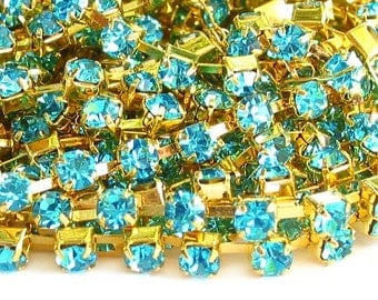 3 feet  AQUA blue 3mm 12SS Rhinestone gold plated brass chain trim - middle east stone - 36 inches