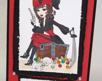 PIRATE Treasures -  fun OOAK card