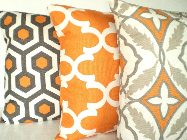 Orange And Gray Decorative Pillows : Orange Gray Pillow Covers Decorative Pillows by fabricjunkie1640