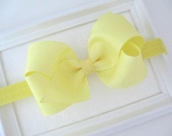 Yellow Bow Headband, Baby Headband, Hair Bow Headband for Newborns, Infants, Baby Girls, Girls Hair Accessories, Yellow Hair Bow