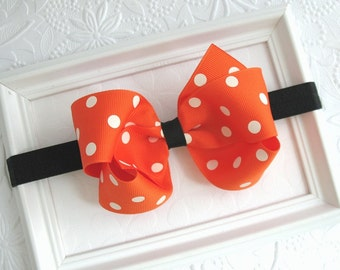 Halloween Headband for Baby Girls, Halloween Hair Bow, Orange Polka Dot and Black Halloween Bow, Baby Infant Toddler Girls Bow Headband