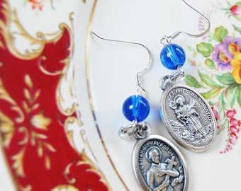 Saint Gerard Majella and St Raymond Nonnatus Childbirth Catholic Dangle earrings with a blue glass bead