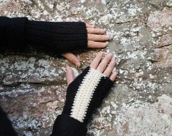 FINGERLESS GLOVES, Crochet mittens in black and cream, gift for her, knitwear UK