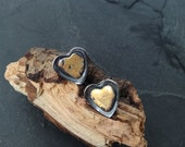 Sterling silver heart earrings with 24k gold leaf, hallmarked in Edinburgh