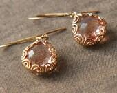 Gold Earrings,Dangle Earrings,Peach Earrings,Bridesmaids Gift,Bride Earrings,Bridesmaids Earrings