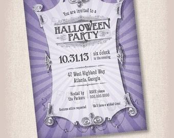 Vintage Halloween Printable Invitation - Party, Celebration, Vintage, Steampunk
