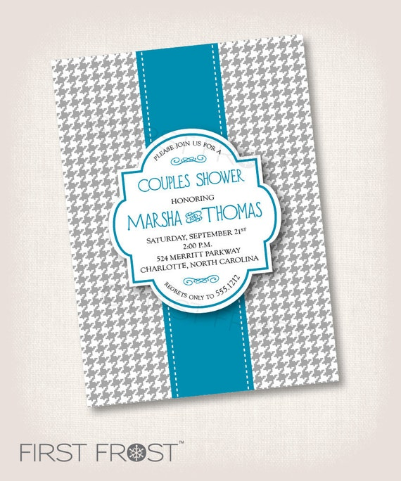 Printable Birthday Ribbon ~ Houndstooth and ribbon printable invitation wedding