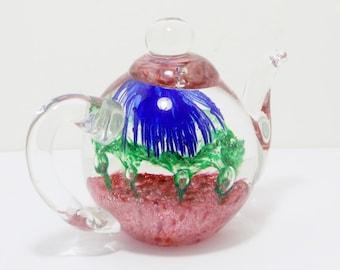Vintage Glass Tea Pot Paperweight, Home