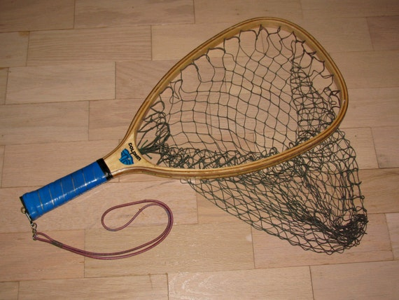 Vintage wooden dolphin fishing fly fishing landing net for Wooden fishing net