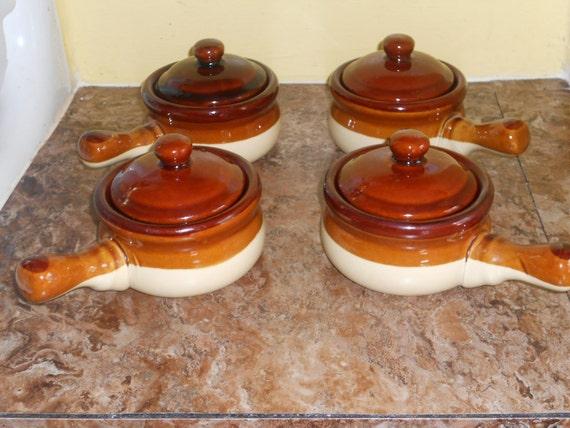 Stoneware French Onion Soup Crocks Bowls W Lids Lillian