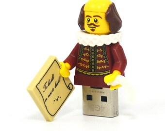 16GB USB Memory Drive in a William Shakespeare original LEGO Movie minifigure