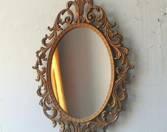 Baroque Mirror in Deep Gold Vintage Oval Frame, Vintage Ornate Gold Mirror, Entryway Decor, Paris Decor