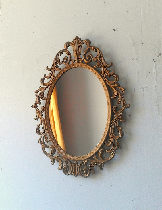 Baroque mirror in deep gold vintage oval frame vintage ornate for Baroque oval mirror