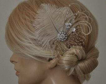 Cream/champagne Feather Fascinator, Hair Accessory,bridal head piece,wedding hair piece,