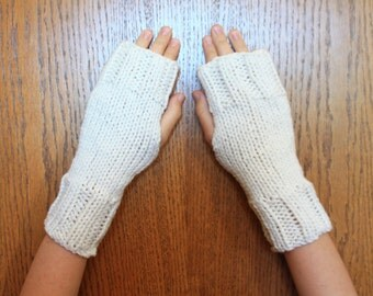Hand Knit Fingerless Mittens/Texting Gloves - Eggshell/Off-White Wrist Warmers- One Size Fits All