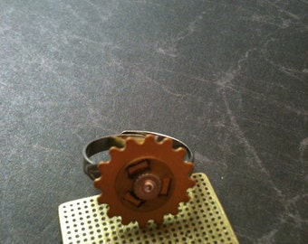 Small Gear with Washer Adjustable Steampunk Ring