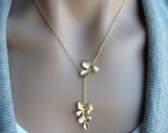 Orchid Dangle Lariat Necklace in Gold -  gift, Christmas, wife,  birthday, sister, daughter, bridesmaid, mother, romantic, resort, beach