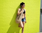 Warm Beige Oversized Beach Bag - Crochet Knit - Market Tote -  Made To Order