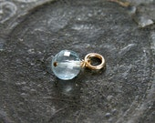 Aquamarine 14k Gold Filled Charm, Wire Wrapped Gemstone March Birthstone - Add a Dangle